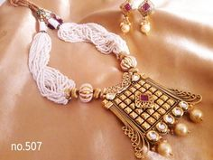 Shopo.in : Buy Pearl Design Kundan Polki Necklace Set online at best price in Ghaziabad, India