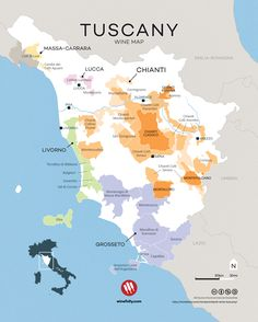 Tuscany wine map. Tasty wines from a pretty special place. Courtesy of Wine Folly.