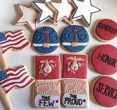 us marine corps set by hoosier sugar cookies independence Summer Cookies, Fancy Cookies, Iced Cookies, Royal Icing Cookies, Cookies Et Biscuits, Usmc Birthday, Marine Corps Birthday, Marine Corps Cake, Military Cake