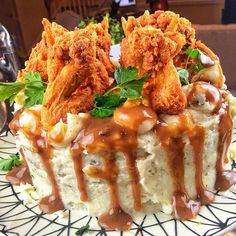 cornbread cake. That's mashed potato frosting. With gravy. And fried ...