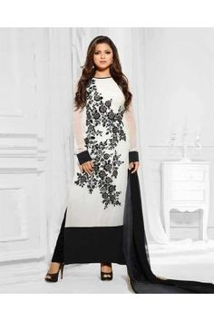 Show some Ethnic look in LATEST DESIGNER BLACK AND WHITE LONG SLEEVE STRAIGHT SUIT