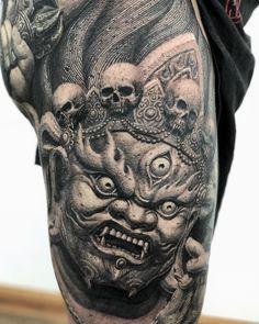 😠💀 By: Heng Yue Location: Yueyang, China Artist's IG: - irezumicollective Buddha Tattoo Design, Japan Tattoo Design, Buddha Tattoos, Asian Tattoos, Black Ink Tattoos, Body Art Tattoos, Sleeve Tattoos, Japanese Flower Tattoo, Flower Tattoo Back