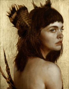 "Brad Kunkle ~ ""Listening Feathers"" ~  Oil and gold leaf on linen. 10 x 8 inches"