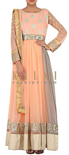 Buy Online from the link below. We ship worldwide (Free Shipping over US$100) http://www.kalkifashion.com/peach-net-anarkali-suit-enhanced-in-thread-and-zari-only-on-kalki.html