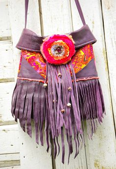 Wild One Shoulder Bag .. Purple Leather fringe and Neon Bright Pink Gypsy Bohemian Western Cowgirl Rustic Satchel