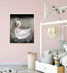 Swan Princess Nursery Decor Print In Black And Pink Baby Wall Art Room