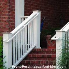 wooden stair hand rails on front porch