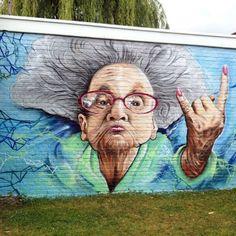 """Grandma Rocks by @_smok_  in Edegem in #Belgium  http://globalstreetart.com/smok  #globalstreetart"""
