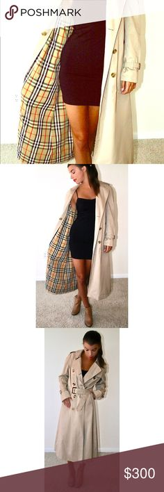 Vintage Burberry Trench Coat\ Women's Tan\Medium This is a classic piece of vintage clothing! Burberry, size medium, color is tan. It comes with a belt and a removable zipped wool vest lining with the Burberry print. This trench is made very well, and can be for the spring or winter! Burberry Jackets & Coats Trench Coats