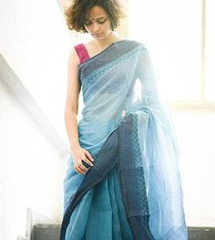 da07044ecc Blue with dark blue border by Suta - PC - 12420 Raw Mango Sarees, Indian
