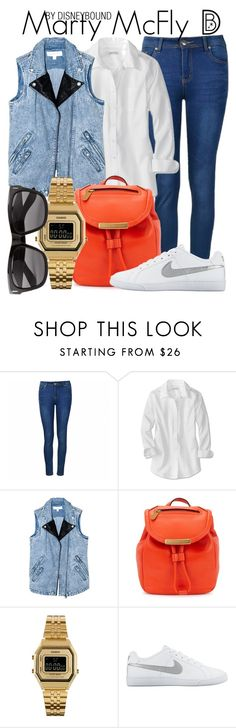 """Marty McFly"" by leslieakay ❤ liked on Polyvore featuring Ally Fashion, Finders Keepers, Marc by Marc Jacobs, Casio, NIKE, Vero Moda, Halloween and backtothefuture"
