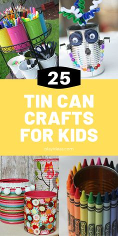 These 25 Recycled Tin Can Crafts For Kids are a blast for the whole family because they're everything from fun decorations to interesting art pieces that you might not have ever thought up. You and your kids are going to have a blast with these! Enjoy! Find more at playideas.com. Tin Can Crafts, Crafts For Kids, Back To School Hacks, Play Ideas, Having A Blast, Homemade Beauty, Getting Organized, Recycling, Art Pieces