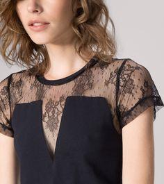 maje KATALE Cotton and lace T-shirt at Maje US