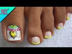 YouTube Foot Pedicure, Pedicure Nail Art, Pedicure Designs, Toe Nail Designs, Dope Nails, Swag Nails, Cute Pedicures, Mandala Nails, Cute Nail Art