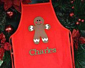 Kids Gingerbread Apron Red, White or Natural  Personalized With Name