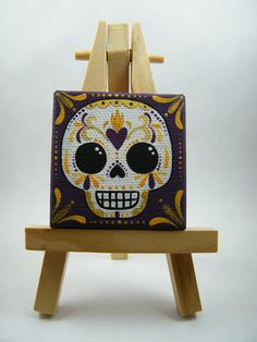 Sugar Skull Mini Canvas Painting on Etsy, $20.00