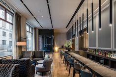 Solución textil en bar, paneles de tela posteriores a la barra, tapizado de mobiliario #interiordesign