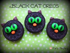 easy halloween cookies, black cat cookies, halloween oreos, kids halloween party ideas, easy halloween desserts, halloween food