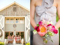 Photography by Katelyn James. Fun, bright, and elegant wedding day. Grey dresses + pink bouquet + mint shoes = perfection.