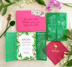 Reserved for Maria - Tropical Flamingo Party - Ready to Order Invitation with Laser Cut Palm Folder Flamingo Party, Flamingo Birthday, Invitation Fete, Wedding Invitations, Hawaiian Invitations, Grad Invites, Custom Invitations, Aloha Party, Luau Party