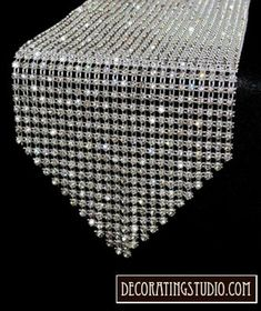 This elegant crystal rhinestone table runner absolutely sparkles under any kind of light for your wedding, event or party. Diamond Party, Diamond Wedding Theme, Diamond Theme, Diamond Stud, Wedding Ring, Wedding Jewelry, Denim And Diamonds, Do It Yourself Wedding, Centerpiece Decorations