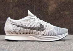 "Last month Nike dropped one of the cleanest Nike Flyknit Racer colorways ever – a ""Pure Platinum"" base that – no pun intended – hid some camouflage print on the heel-stripe of shoe. Those instantly so"