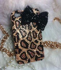 Handmade Bling leopard Bow Diamond crystal pearl For iphone 4 4S case cover C117