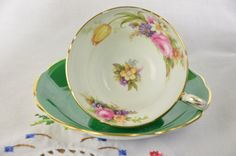 Foley bone china made in England tea cup and saucer/ Emerald Green tea cup and saucer by VieuxCharmes on Etsy