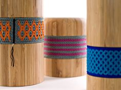 The bambusters are a series of vases made of bamboo and decorated with pressed rajut a crochet technique Indonesia which gives it a nice touch of color to the wood. via @LasTejeYManeje