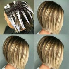 Haare und mehr White Gold Wedding Rings Wedding is the most important moment in everyones life. Ombre Hair Color, Hair Color Balayage, Hair Highlights, Hair Cutting Techniques, Hair Color Techniques, Balayage Hair Tutorial, Bob Haircut For Fine Hair, Hair Color Formulas, Hair Painting