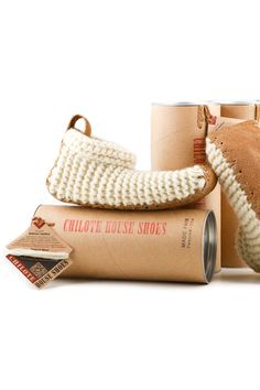 House Shoes, garter stitch knit with salmon skin soles. Love it!