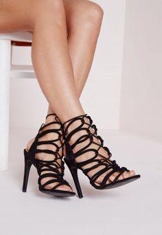 Rope Lace Up Heeled Gladiator Sandals Black