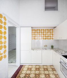 Architecture studio Vora renovated this apartment in Barcelona by arranging the walls to highlight its original patterned tile floors. Floor Patterns, Tile Patterns, Custom Made Furniture, Furniture Making, Vintage Tile Floor, Barcelona Apartment, Narrow Rooms, Timber Beams, Visual Comfort