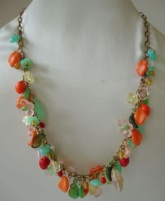 VINTAGE CZECH GLASS FRUIT AND FLOWERS NECKLACE
