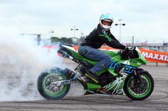 Maxxis sponsored Lee Bowers shows its not just drift car tyres that smoke at his stunt show