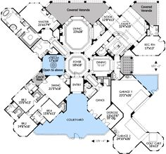 Plan W16320MD: European, Corner Lot, Mediterranean, Southwest, Luxury,  Spanish House