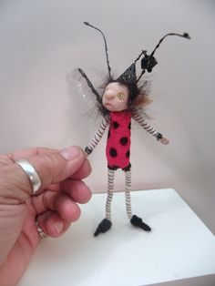 ooak pose-able child LADY BUG pixie FAIRY (38 ) art doll by DinkyDarlings via Etsy