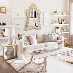 Living room, chic, neutral, blush, rose, pink, pattern, interior