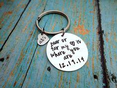 Near or Far, Long distance Relationship, All I'll Ever Need, Husband Gift, Boyfriend Gift, Men's Gift, Custom Keychain, Anniversary Gift by HandmadeLoveStories on Etsy