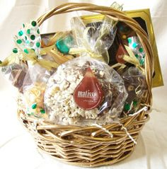 Matisse Chocolatier - Gourmet Chocolate Gift Basket Gold Wicker Look, $55.00 (http://www.getfreshchocolate.com/gourmet-chocolate-gift-basket-gold-wicker-look/)
