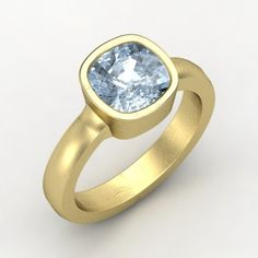 Cushion Aquamarine 14K Yellow Gold Ring | Vahagan Ring | Gemvara--This is spectacular.  But I recommend not getting a diamond.  It's um, not $30,000 worth of spectacular. :-P $1,511