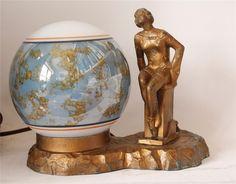 ART Deco Vintage Figural Bronzed Metal Desk OR Budoir Lamp C 1920s | eBay