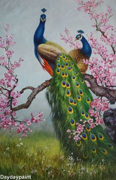 Handmade Animal Oil Paintings Two Beautiful Peacocks in Landscape HOT SALE FREE SHIPPING
