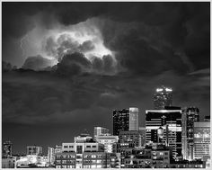 A powerful thunderstorm over downtown Denver.  by glness, via Flickr Denver Skyline, Thunderstorms, See It, Willis Tower, Skyscraper, Cities, Colorado, Buildings, Multi Story Building
