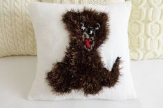Puppy Dog Knit Pillow Cover Kids Bedding 16x16 by Adorablewares