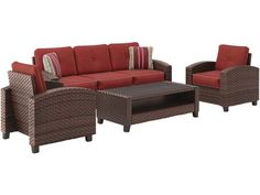 Fall in love with the Ashley Meadowtown Brown Sofa/Couch/Chairs/Table Set by Signature Design by Ashley at Bargains and Buyouts, serving Tri-County, West Chester and Winton Woods in Cincinnati, OH Sofa Chair, Sofa Set, Couch, Outdoor Sofa, Outdoor Furniture Sets, Outdoor Living, Value City Furniture, Brown Sofa, Room Planning