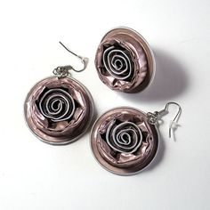 Statement Set, Light Pink Rose, Ring and Earrings, Jewellery, Upcycled Nespresso Capsules, Boho, OOAK, Recycled