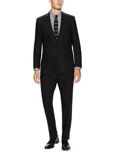 Black Solid Notch Lapel Suit