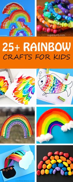 25+ rainbow crafts for toddlers, preschoolers and older kids. Perfect for St Patrick's Day or to welcome spring. Use paper plates, stones, beads, pom poms and more. | at Non-Toy Gifts