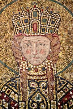 Byzantine - Empress Irene (1088 – 1134; in view here), wearing ceremonial garments and offering a document. The empress is shown with plaited blond hair, rosy cheeks and grey eyes, revealing her Hungarian descent.
